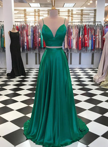 Green v neck satin long prom dress, two pieces evening dress