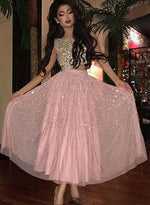 Stylish pink two pieces tea length prom dress, pink evening dress