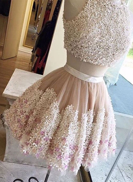 Cute two pieces short prom dress, cute party dress