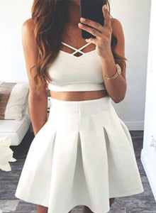 White two pieces short prom dress, homecoming dress