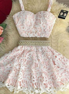 Cute two pieces lace short prom dress, homecoming dresses
