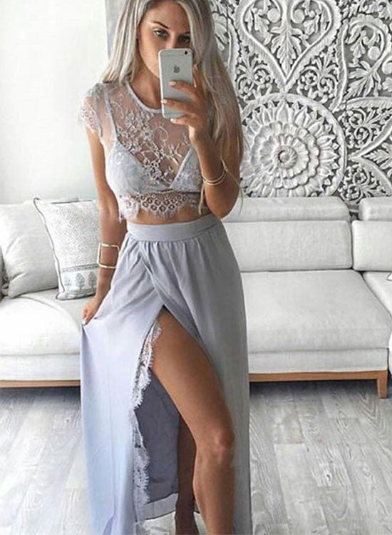 Stylish two pieces lace long prom dress, lace evening dress