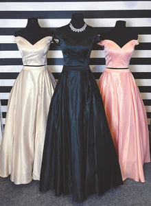 Simple two pieces off shoulder long prom dress, evening dress