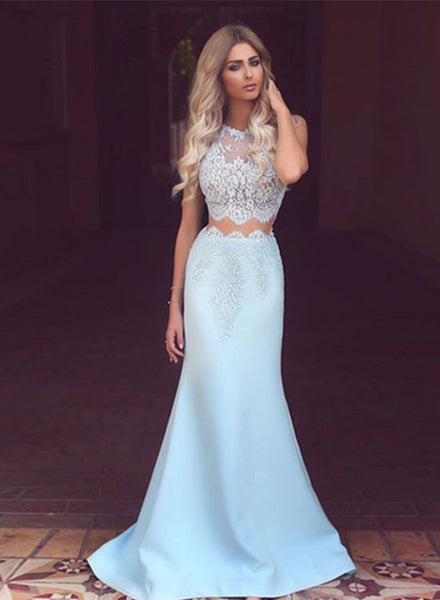 Mermaid light blue lace long prom dress, two pieces evening dresses