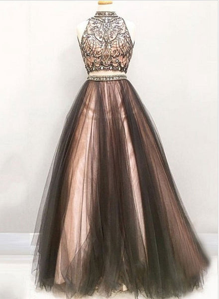 Stylish two pieces beading long prom dress, formal dress