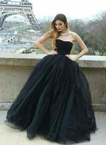 Black tulle long prom dress, black evening dress