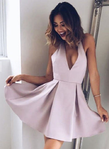 Simple v neck short prom dress, homecoming dresses