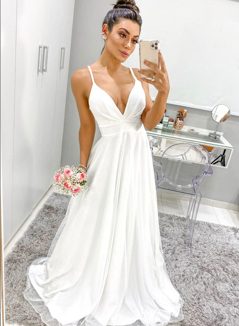 White v neck chiffon long prom dress evening dress