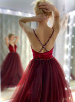 Burgundy v neck tulle long prom dress evening dress