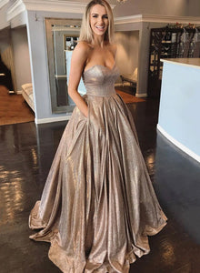 Stylish satin long prom dress evening dress