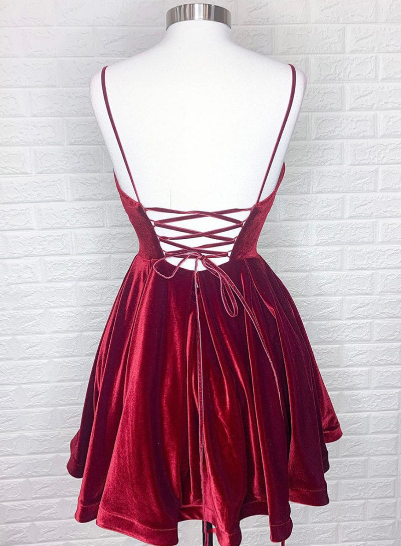 Burgundy velvet short prom dress party dress