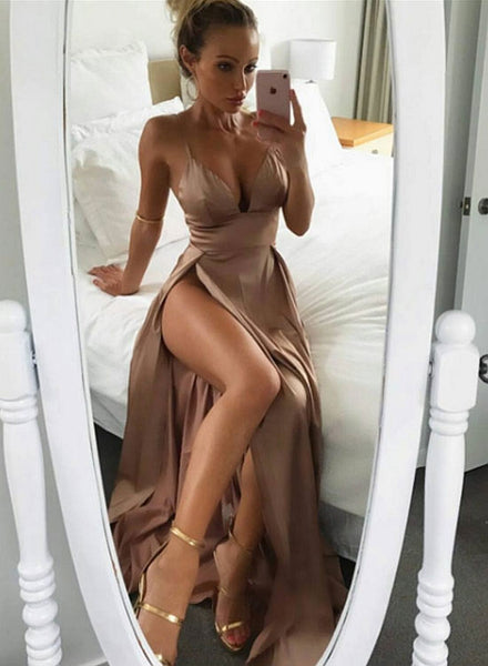 Sexy v neck long prom dress, evening dresses
