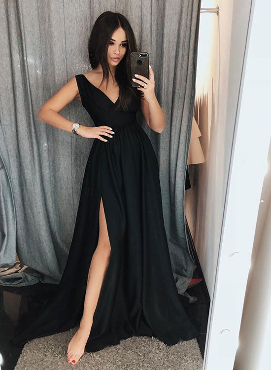Simple black v neck satin long prom dress, evening dress
