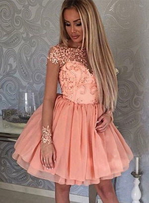 Stylish tulle lace applique short prom dress, cute homecoming dress