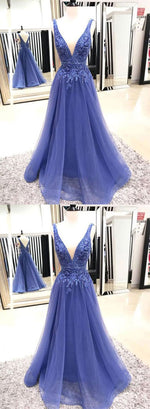Blue v neck lace long prom dress, lace evening dress