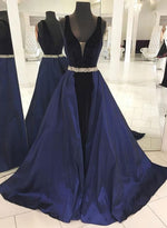 Dark blue satin v neck long prom dress, blue evening dress