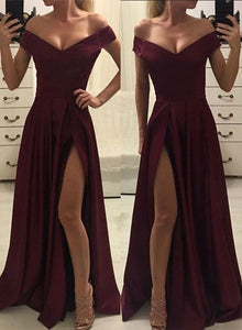 Burgundy v neck long prom dress, evening dress