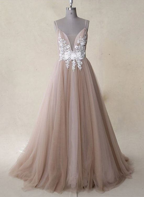 A line v neck tulle lace long prom dress, evening dress