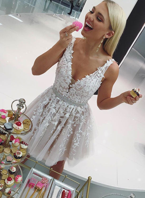 Champagne v neck tulle lace short prom dress, evening dress