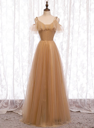 High quality A line tulle long prom dress bridesmaid dress