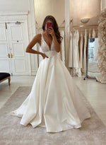 White v neck satin lace long prom dress evening dress