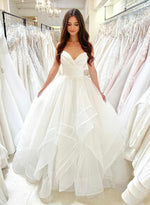 White tulle long ball gown dress formal dress