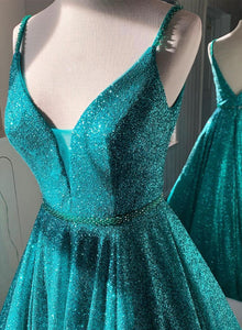 Shiny A line long prom dress blue v neck evening dress