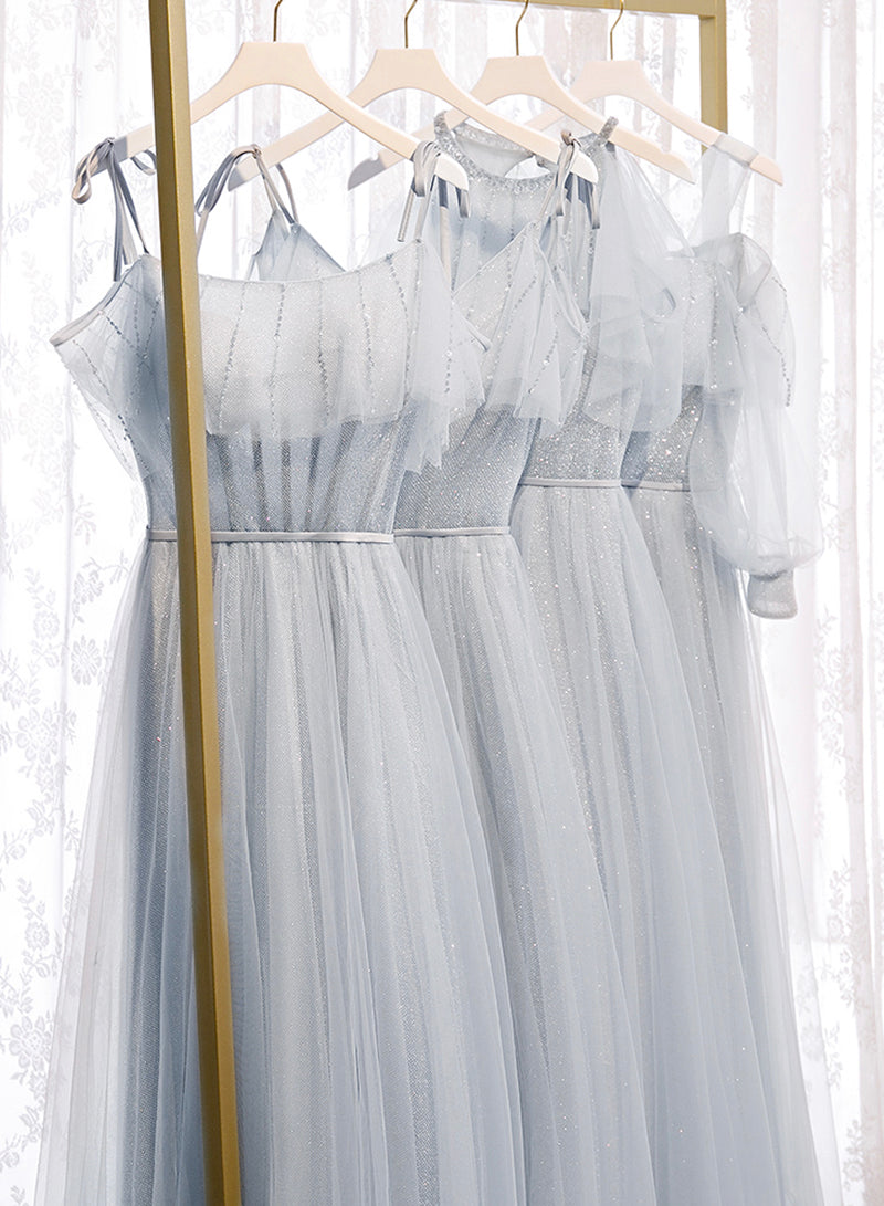 Gray A line tulle long prom dress bridesmaid dress