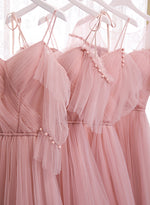 Cute A line tulle long prom dress bridesmaid dress