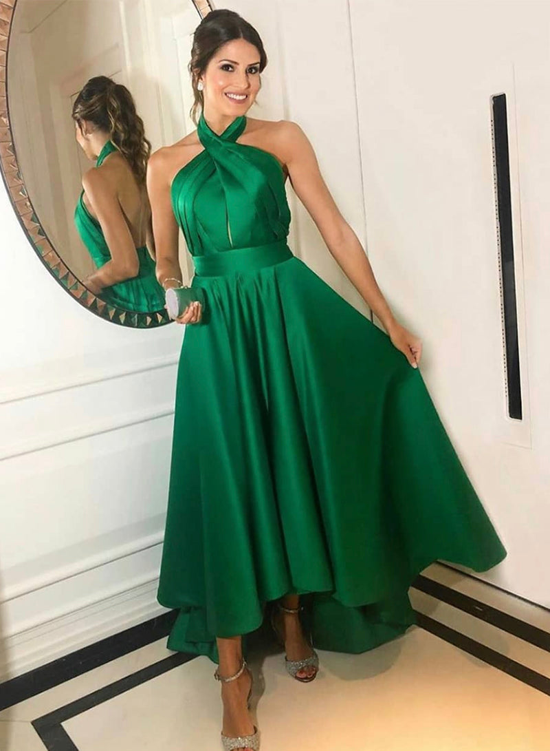 Green satin short prom dress homecoming dress
