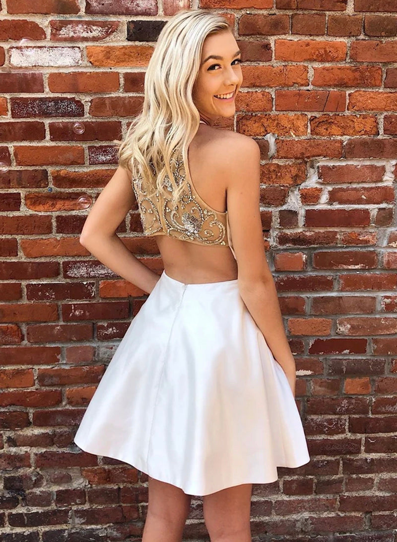 White satin short prom dress with back beaded