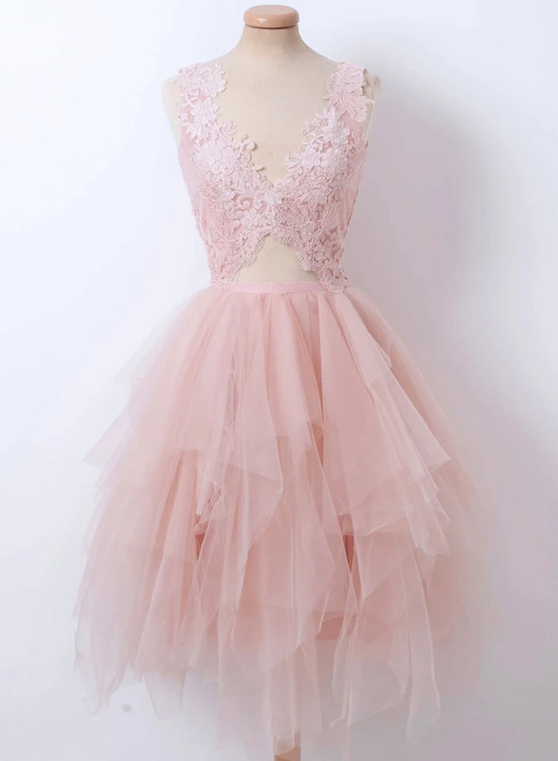 Pink v neck lace short prom dress party dress