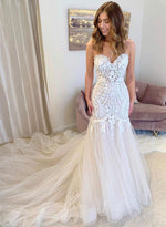 Mermaid lace tulle long prom dress evening dress