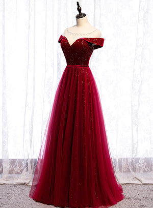 Burgundy velvet tulle prom dress evening dress