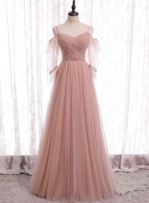 Pink A line tulle long prom dress bridesmaid dress