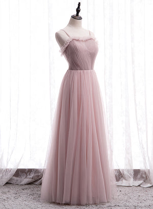 Pink tulle long A line prom dress evening dress
