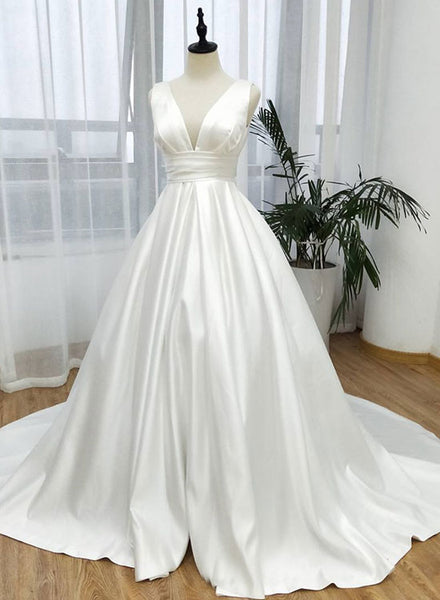 White v neck satin long prom dress, white evening dress
