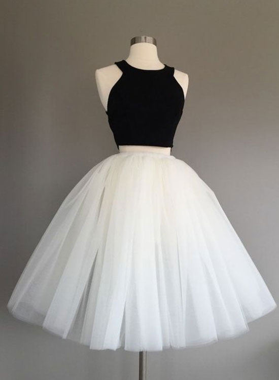 Cute A line black and white short prom dress, homecoming dress