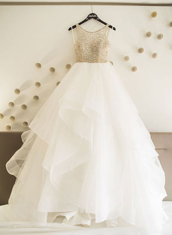 White A line tulle long prom dress, wedding dresses