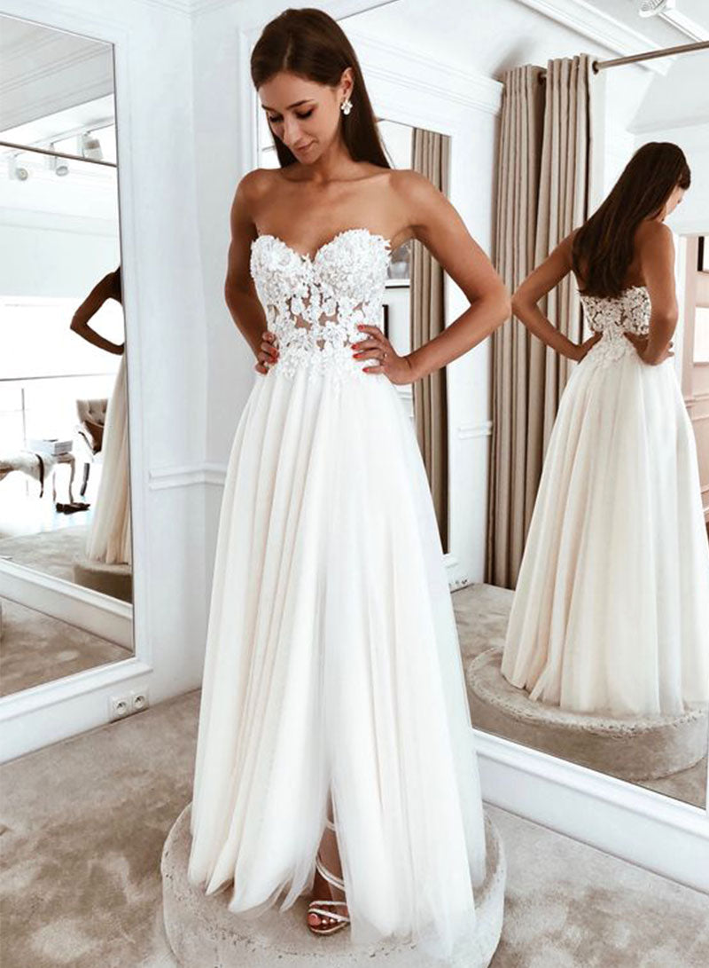 White chiffon lace long prom dress, white evening dress