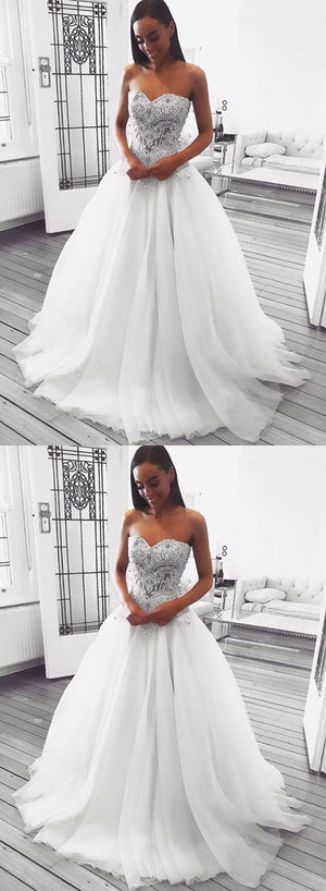 White sweetheart neck lace long prom dress, white evening dress