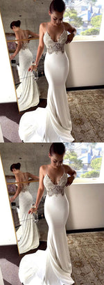 White mermaid lace long prom dress, white evening dress