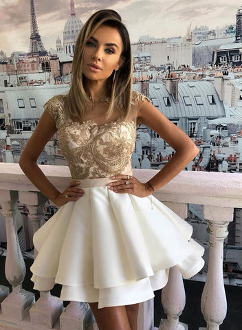 Cute A line lace short prom dress, white evening dress