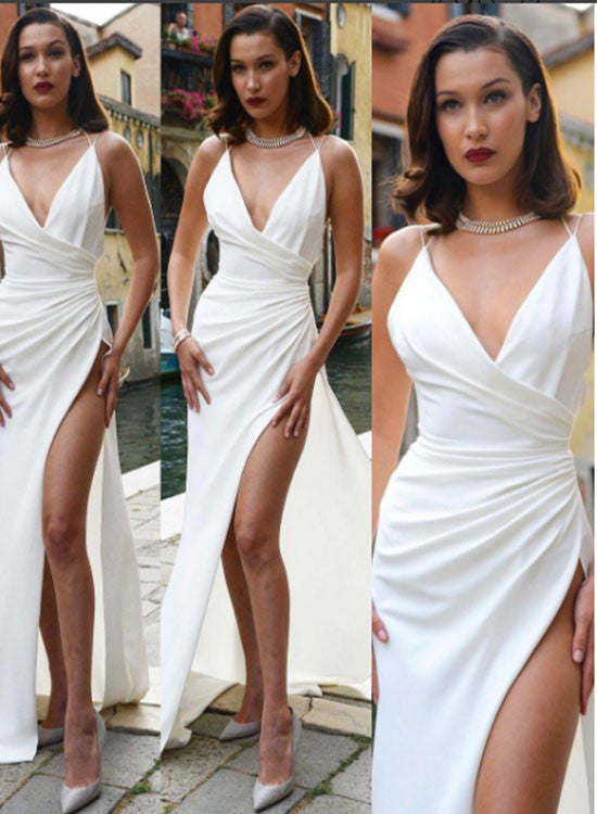 Sexy white v neck long prom dress, white evening dress