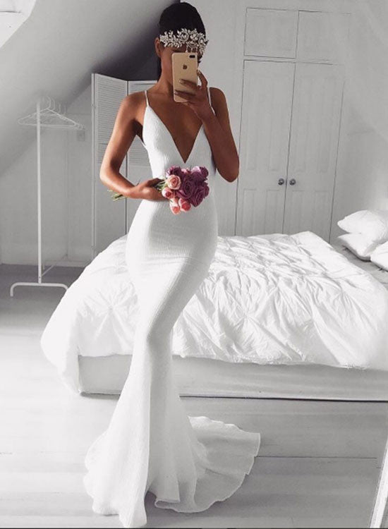 Simple white v neck mermaid long prom dress, white evening dress