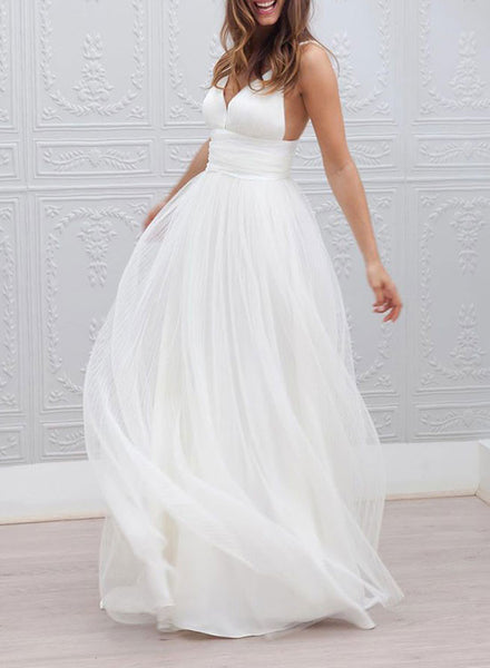 Simple v neck tulle long prom dress, wedding dress