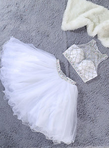 White two pieces tulle short prom dress, homecoming dress