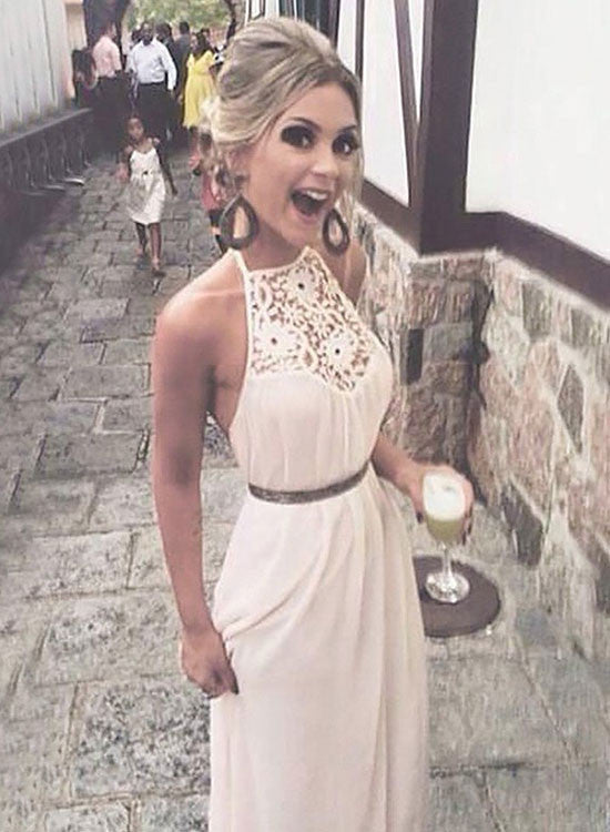 White chiffon lace long prom dress, simple evening dress