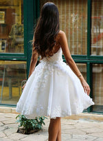 Charming white A line applique short prom dress, white homecoming dress
