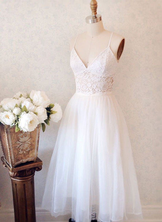 White lace v neck short prom dress, homecoming dress